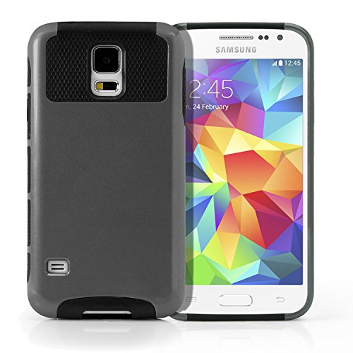 Galaxy S5 Case, MagicMobile® Impact Resistant & Shockproof Hybrid Hard Shield with Slim Armor TPU Cover ( Gray / Black ) with Screen Protector / Protective Film & Stylus