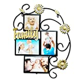 Abbie Home Sunflower Decorated Wall Hanging Collage Picture Photo Frame,4x6 inch (Black)