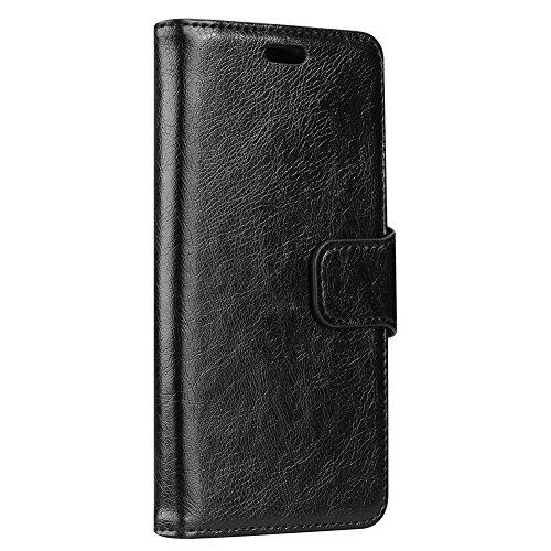 Funda para Asus Zenfone 5 Lite ZC600KL,SunFay Premium Cuero PU Cover Magnético Flip Folio Ranura para Tarjetas Protective Billetera Funda Case con Stand Función para Asus Zenfone 5 Lite ZC600KL - Rojo Negro