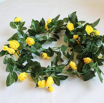 Amazon artificial flowers yiting flower vines decorated with artificial flowers yiting flower vines decorated with artificial pink roses yellow mightylinksfo