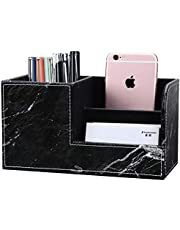 KINGFOM Wooden Struction Leather Multi-Function Desk Stationery Organizer Storage Box Pen/Pencil,Cell Phone, Business Name Cards Remote Control Holder Colors