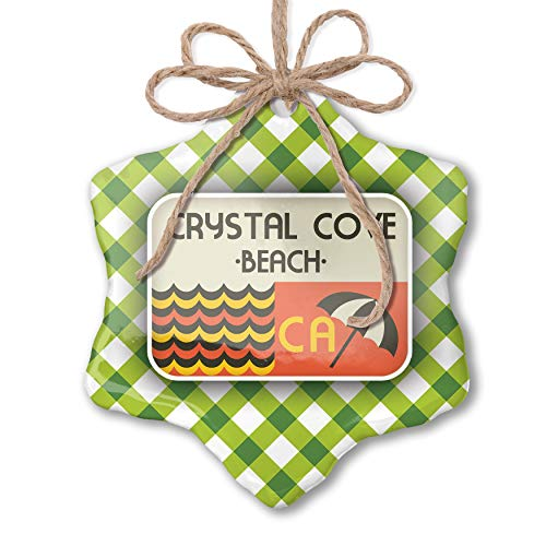 NEONBLOND Christmas Ornament US Beaches Retro Crystal Cove Beach Green Plaid