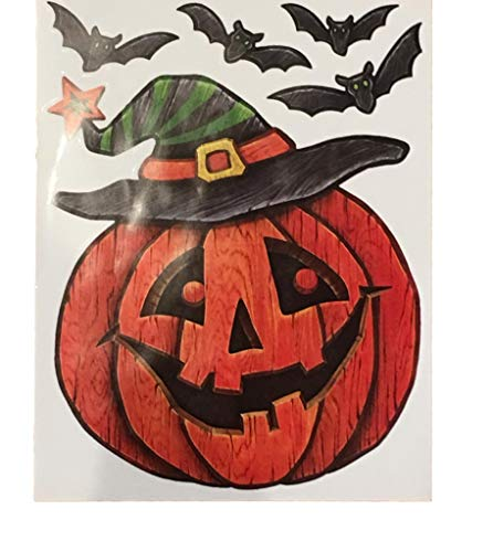 Greenbriar International Halloween Window Decorations - Sticker Sheets for Halloween Window Designs (Large Jack-o-Lantern w/Bats (5pcs))