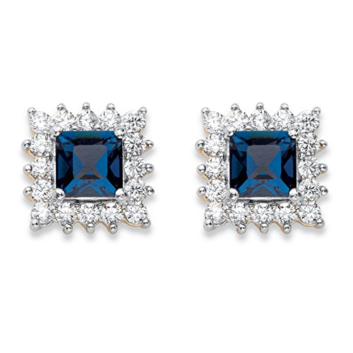 Princess-Cut Sapphire Blue Crystal and Cubic Zirconia 14k Gold-Plated Halo Stud - Brilliant Earrings Austrian Crystal