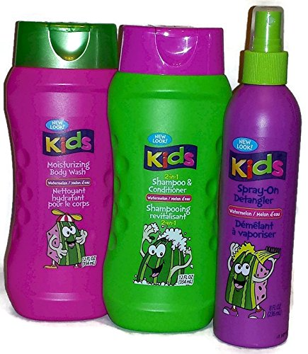 Kids Watermelon 2-in-1 Shampoo and Conditioner, Moisturizing Body Wash and Spray-on Detangler. (Bundle of 3 Items) ()