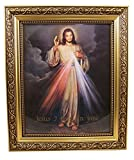 The Divine Mercy Jesus Christ Print in 13 Inch Gold