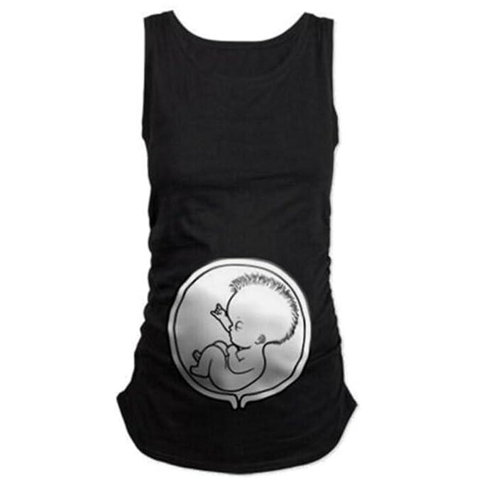 Highdas para Mujer Camiseta de Maternidad del algodón sin Mangas Floja Elasticidad Suave Chaleco Embarazada con
