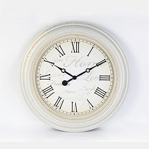TOYM- 20 Inch European Style Creative Wall Clock Vintage Idyllic Mediterranean Living Room Bedroom Clock Round Quartz Clock ( Color : White ) - Resin White Clock