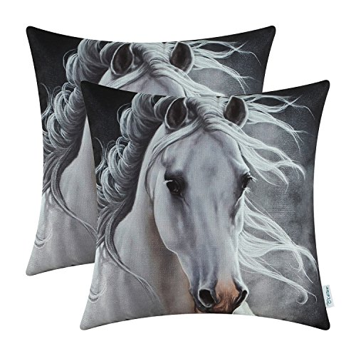 CaliTime Pack of 2 Soft Canvas Throw Pillow Covers Cases for Couch Sofa Home Decoration Vivid Wild Horses Print 18 X 18 inches White Horse