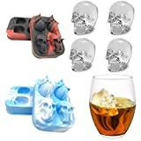 Hillento 3D Skull Ice Mold, Silicone Skull Shaped Ice Tray Makes Four Vivid Skulls, Ice Cube Tray for Whiskey and Cocktails, Reusable, Set of 2