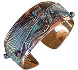 Elaine Coyne Dragonfly Cuff Bracelet - Amethyst and Garnet