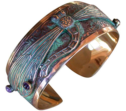 Elaine Coyne Verdigris Patina Dragonfly Cuff Bracelet - Amethyst and Garnet