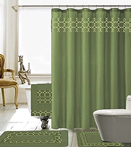 18 Piece Embroidery Banded Shower Curtain Bath Set 1 Mat Contour