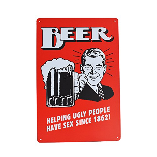 PEI's Funny Novelty Quality Tin Metal Sign, Beer/Alcohol/Drinks Motif for Bar Home Kitchen Diner Man Cave, 8
