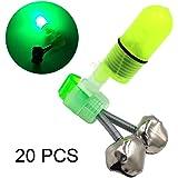 ZEMIO Fishing Alarm 20pcs Bite Ring Light Sound Alert Indicator Bell Jingle for Night Fishing Rod