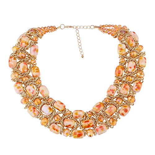 Fashion Crystal Beads with Gold Plated Chains Chunky Statement Necklace for Women Crystal Choker Jewelry 4 Colors