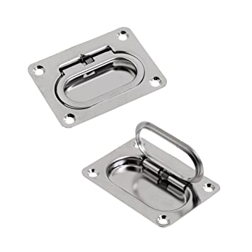 Dovewill 2 Pieces 73 x 54mm Stainless Steel Spring Hatch Locker Lift Handle  Pull Handle Hardware Flush Mount Boat Marine Caravan Door Window