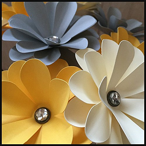 Paper Flower Daisy Bouquet with Gem Centers, set of 8