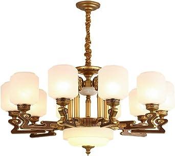 LáMpara Colgante De Techo Candelabros iluminados de aleación de zinc para sala de estar, escalera de villa, candelabros de escalera de caracol, 10 cabezas: D95 × H47cm: Amazon.es: Iluminación