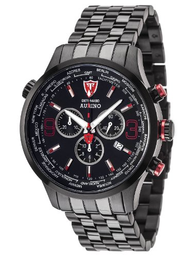DETOMASO Men's DT1061-A AURINO XXL Chronograph Trend schwarz/schwarz Analog Display Swiss Quartz Black Watch