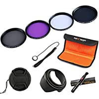 K&F Concept 52mm UV CPL FLD ND4 Lens Accessory Filter Kit UV Protector Circular Polarizing Filter Neutral Density Filter for Nikon D5300 D5200 D5100 D3300 D3200 D3100 DSLR Cameras + Cleaning Pen + Petal Lens Hood + Center Pinch Lens Cap + Cap Keeper + Filter Bag Pouch