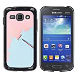 FECELL CITY // Hard PC Aluminium Sticker Case Cover Decorative Shell for Samsung Galaxy Ace 3 GT-S7270 GT-S7275 GT-S7272 // Wall Painting Art Pink Light Blue Scroll