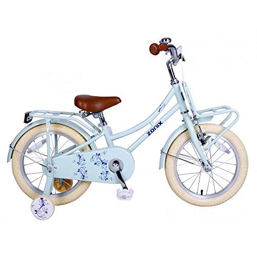 Vélo Fille Zonix 16 Pouces Frein à Rétropédalage et Stabilisateurs Amovibles Bleu 85% Assemblé