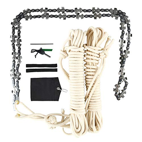 48 Inch High Reach Tree Limb Hand Rope Chain Saw - Blades on Both Sides so it Doesn't Matter How it Lands - Upgraded with 50% More Blades Cutting in BOTH Directions & on BOTH Sides - Comes with Ropes