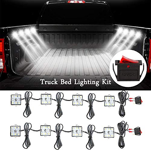 D-Lumina 8-Pods LED Truck Bed Lighting Kit White-W/Switch Super Bright 48-SMD 6000K Pickup Lights Fits GMC Chevy Jeep TJ JK Ford F150 F250 Dodge Toyota Cargo Trailer RVs Boat,Waterproof