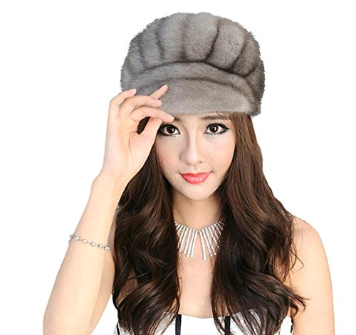 Easting Warm Winter Genuine Mink Fur Beret Hat Fashion Style Women's Berets (Gray)