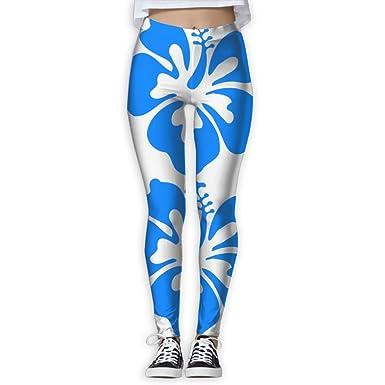 cd25cd06ad Blue Hibiscus Clipart Elastic High Waist Yoga Leggings For Women at ...