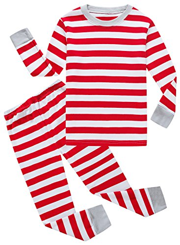 Family Feeling Striped Little Boys Girls Christmas Pajamas Set 100% Cotton Pjs Red Size (Red Striped Christmas Pajamas)