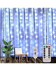 Yizhet Kurtyna świetlna 3 x 3 m LED łańcuch świetlny kurtyna świetlna z 8 trybami, wodoszczelność IP65, dekoracja na Boże Narodzenie, imprezę, oświetlenie wewnętrzne