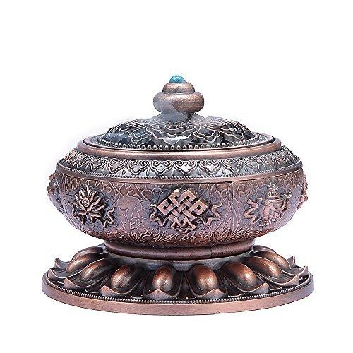 Quemador de incienso titular medoosky grande Tíbet Lotus de aleación de cobre (Stick/Cono/Bobina Incienso)