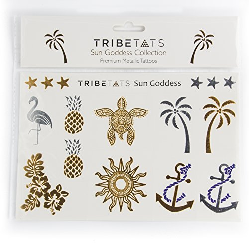 Sun Goddess Metallic Temporary Tattoos by TribeTats -- Henna Inspired Body Art -- Applies In A Flash, Long Lasting -- Boho Music Festival (Verse Tattoos)