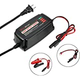 uxcell 12V 5A Smart Battery Charger Microcomputer Control Automatic Lead Acid AGM GEL WET 4-Stage Charger for Car Motorcycle Trucks Ships Lawn Mower RV ATV Batteries w 2 Pin US Plug