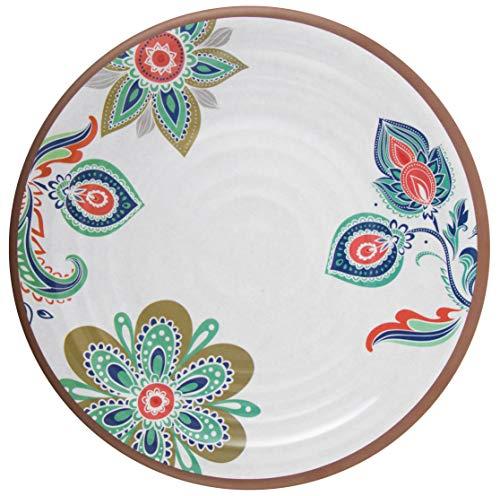 Melange 6-Piece 100% Melamine Dinner Plate Set (Flowers in Clay)   Shatter-Proof and Chip-Resistant Melamine Dinner Plates