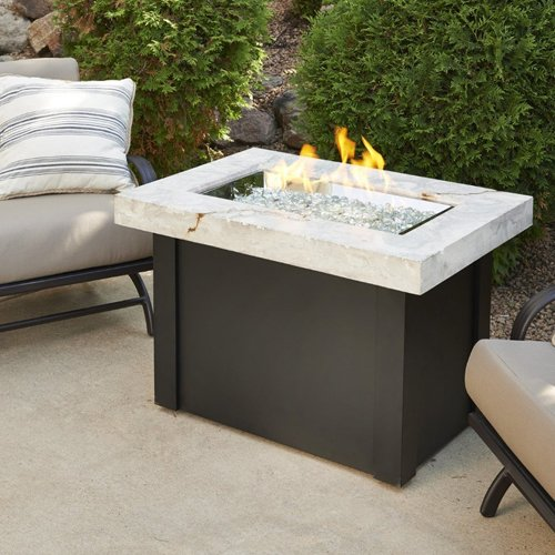 Outdoor Great Room Providence Crystal Fire Pit Table with White Onyx Marbelized Top and Black Metal - Propane Pit White Fire