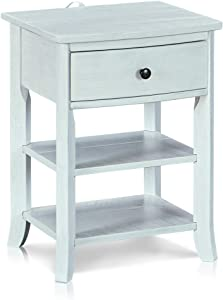 MUSEHOMEINC Rustic Wood 3-Tier Nightstand with Storage Shelf and Drawer for Bedroom or Living Room/Round Metal Knobs/Heritage Collection Furniture/End Table/Side Table,White Washed Finish