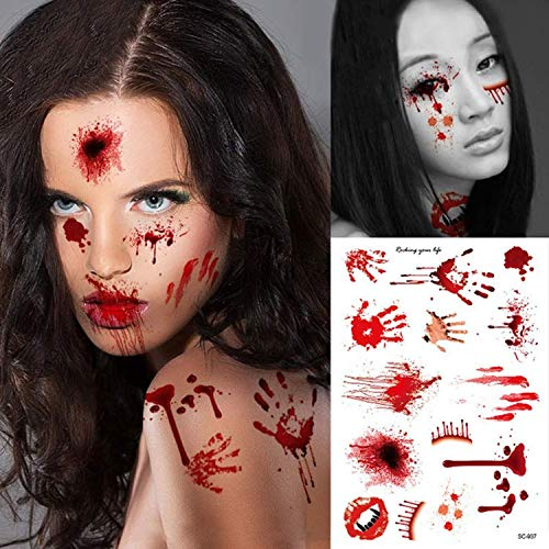 2pcs Waterproof Bloody Scars Tattoo Halloween Horror Terror Wound Scary Blood Injury Stickers