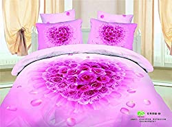 Joybuy 3d 100% Cotton Bedding Set Pink Roses 4pcs Queen Size Comforter Not Included