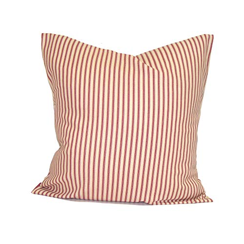alerie Sassoon Ticking Stripe Pillowcase Cushion Covers French Ticking Decorative Pillowcase Cushion Throw Pillowcase Cushion Euro Sham French Country Farmhouse Decor Red -