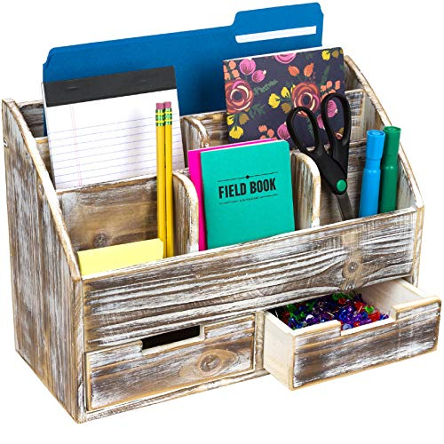 - ustic Wood Office Desk Organizer: Includes 6 Compartments and 2 Drawers to Organize Desk Accessories, Mail, Pens, Notebooks, Folders, Pencils and Office Supplies (Brown)