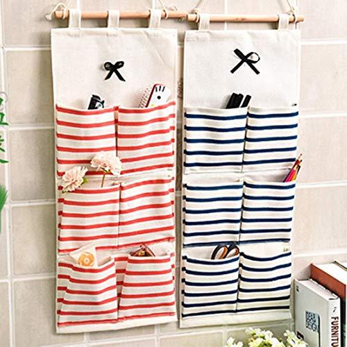 BianchiPatricia Striped Pockets Wall Door Closet Hanging Storage Bag Home Organizer
