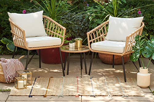Quality Outdoor Living 65-YZSP02 Hermosa 3 Piece Chat Set, Tan Wicker + Light Beige Cushions - Hand woven with all-weather resistant natural tan resin wicker around a rust resistant frame to stand tough against the elements for years of long-lasting use Inspired by bohemian style, the Hermosa 3 piece outdoor chat set includes two deep seating armchairs and a round accent table Each patio chair includes a UV and weather resistant foam filled seat cushion for optimal comfort and durability - patio-furniture, patio-chairs, patio - 51Pgb7gB%2BwL -