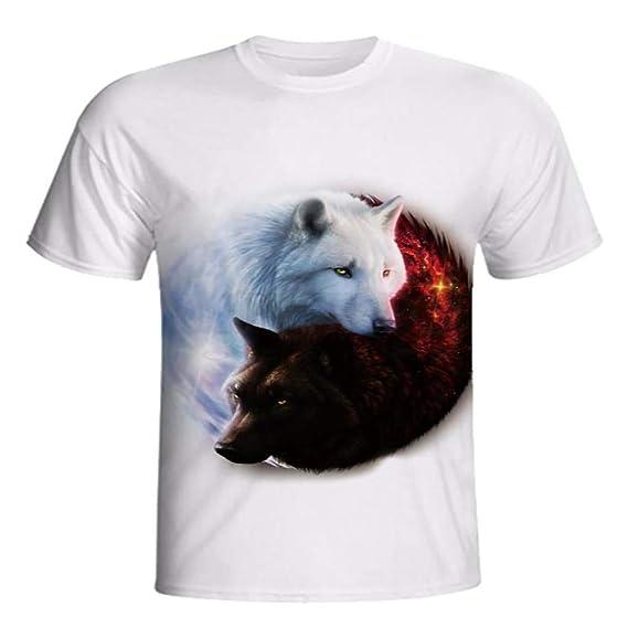 HCFKJ Camisetas Hombre Moda Hombre Fox ImpresióN 3D Tees Camiseta ...
