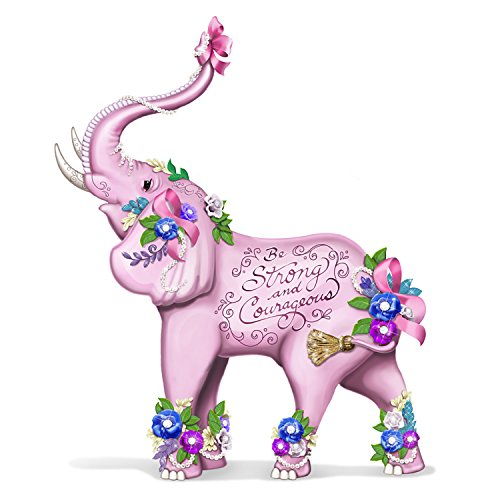 - Breast Cancer Awareness Elephant Figurine by Sally Barlow With Faux Gems by The Hamilton Collection
