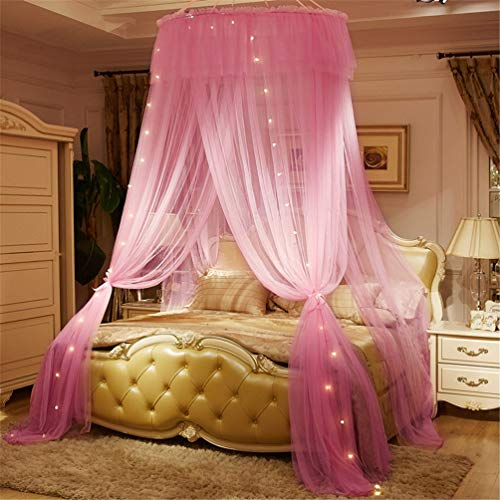 JBailmx Bed Mosquito Net with LED Sleeping Bulb White Lace Macrame Dome Tent Anti-Mosquito Net Bed Canopy Provides Effective Mosquito Repellent Repellent Insect Net Height 280Cm,Pink