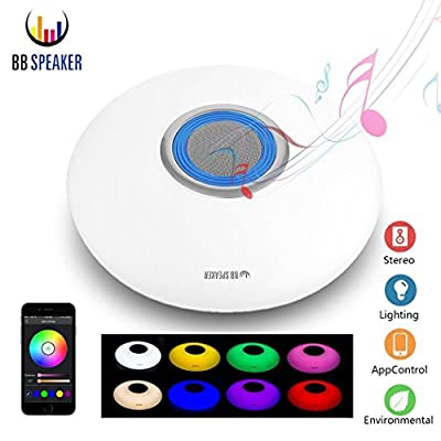 LED Ceiling Light, Dimmable Flush Mount Light Build-in Bluetooth Speaker 17.7inch RGB Color Changing by APP or Remote Control for Bedroom Living Room by BB Speaker