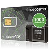 BlueCosmo Iridium GO! 1000 Data Minute Prepaid Global SIM Card – 12 Month Expiry – 1000 Data Minutes – 500 Voice Minutes – 3,000 SMS Text Messages – No Activation Fee – No Monthly Fee – Rollover